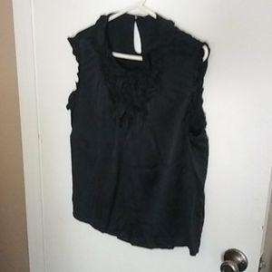 Women's GAP Tuxedo Ruffles Silk Top